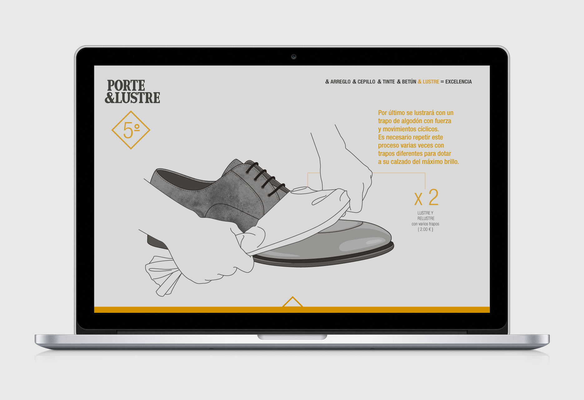 Shoeshiner brand design PORTE&LUSTRE - web design / branding / illustration - 2014